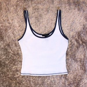 Forever 21 white and navy tank top
